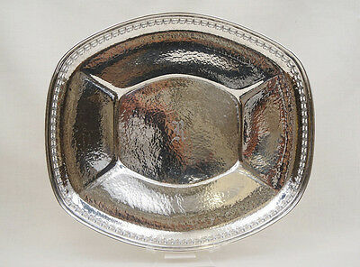 Hammered Sterling Silver Large Reticulated Bread Tray Wilcox & Wagner 9.52OZT