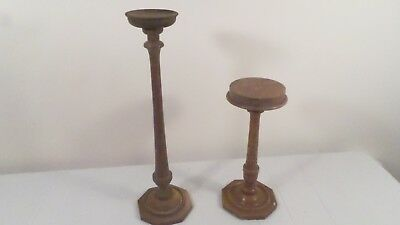 "2 Vintage Wood Plant Pillar Candle Holders Tabletop Hat Stands 17.75"" & 12"" H"