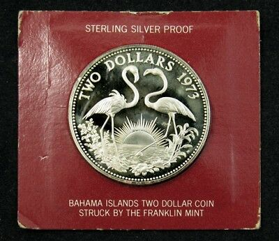 1973 Bahamas $2 Proof Silver Coin in Orig Franklin Mint Holder - KM# 23 PG 168