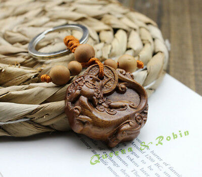 Wood Carving Chinese Pixiu Foo Dog Dragon Statue Sculpture Pendant Key Chain