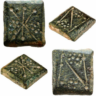 Intact Byzantine Bronze Square Decorated Weight For 1 Solidus Ca 700 Ad