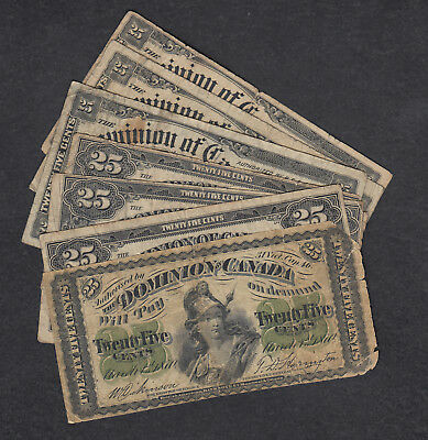 1870-1923 Dominion Of Canada 25 Cents Bank Note Lot Of 7