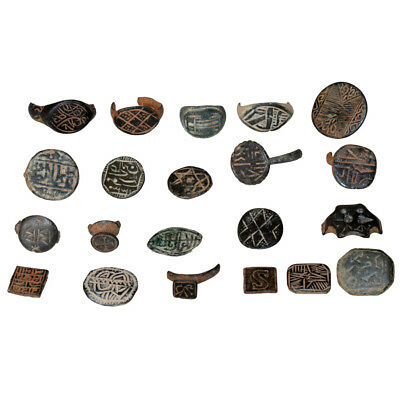 Lot Of 21 Ancient To Medieval Period Bronze Seal And Decorated Ring Heads