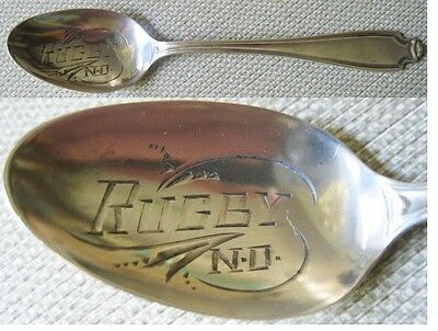 1910 Sterling Silver Souvenir Spoon Rugby North Dakota Nd Wallace No 73 14.8 G