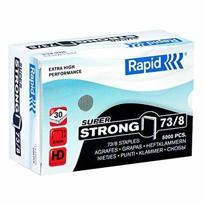 Rapid 24890300 73/8 Super Strong Staples, Hard Galvanised Wire, 8 mm Leg Length,
