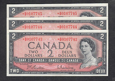 1954 Canada 2 Dollars Replacement Bank Note X 3