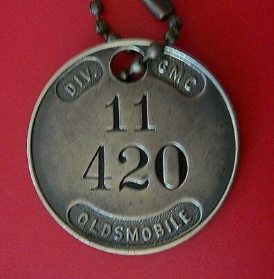 Rare Old Automotive Tool Check Brass Tag: OLDSMOBILE Car Division