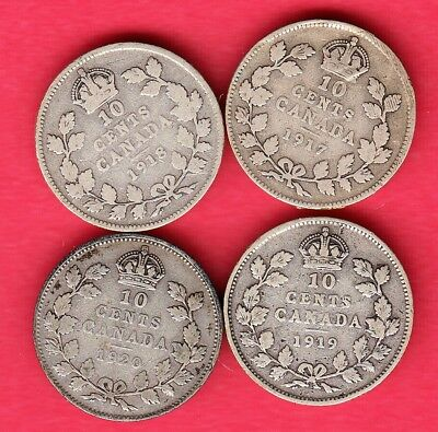 1917, 1918, 1919, & 1920 Canadain Silver 10 Cents ~ Very-Good Condition!
