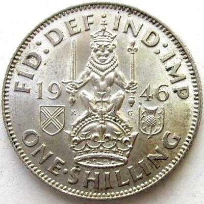 Great Britain Uk Coins, One Shilling 1946, Scottish, George Vi, Silver 0.500