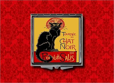 Black Cat Chat Noir Advertising Salis Vintage Ad Makeup Pocket Compact Mirror