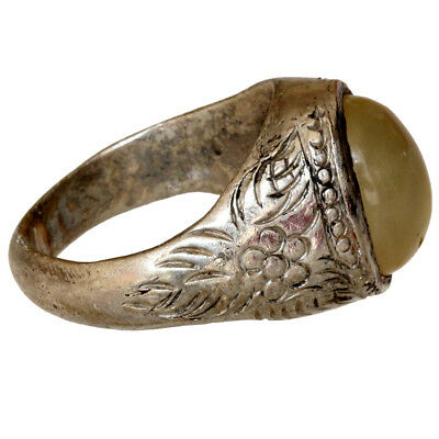 Intact Late Medieval Silver Plated Greek Ring With Nice Stone