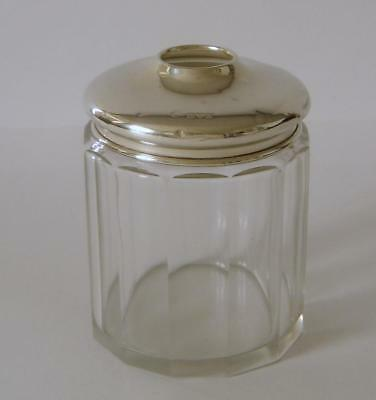 An Antique Sterling Silver Lidded Cut Glass Hair Tidy Jar Chester 1914