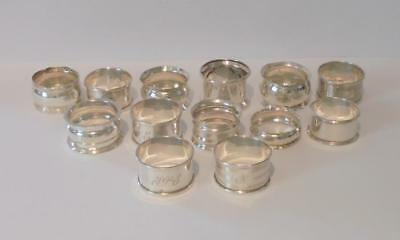 Thirteen Sterling Silver Napkin Rings For Scrap Or Use All Hallmarked