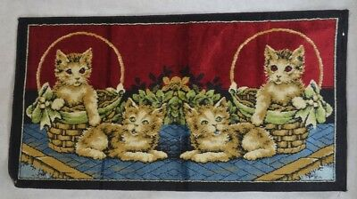 antique cat kitty wall hanging rug red yellow green 20 x 38 Italian  vintage