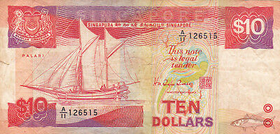 10 Dollars Fine Banknote From Singapore 1988!pick-20