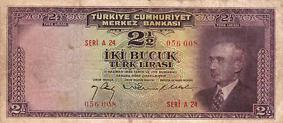 2 1/2 Turk Lirasi Vg-Fine Banknote From Turkey 1947!pick-140