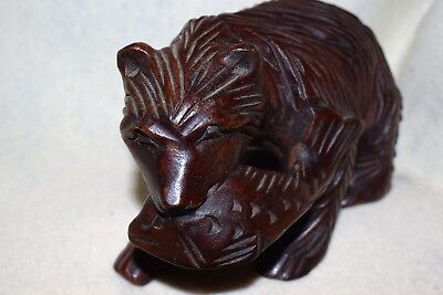 Estate=Hand Carved Wooden Brown Bear walking with Fish in Mouth, Stunning LOOK