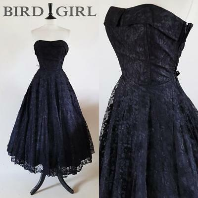 Full Circle 1980S 50S Vintage Black Lace Strapless Boned Swing Cocktail Dress 8