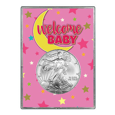 2006 $1 American Silver Eagle Gift Holder - Welcome Baby Pink Design