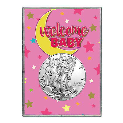 2014 $1 American Silver Eagle Gift Holder - Welcome Baby Pink Design