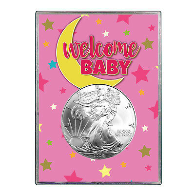 2009 $1 American Silver Eagle Gift Holder - Welcome Baby Pink Design