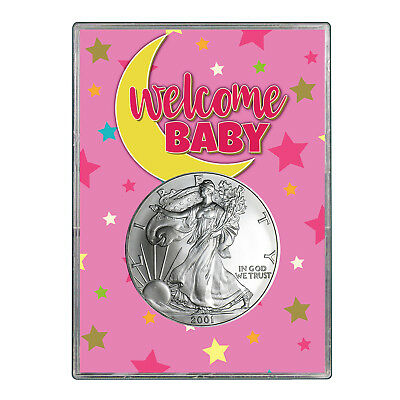 2001 $1 American Silver Eagle Gift Holder - Welcome Baby Pink Design