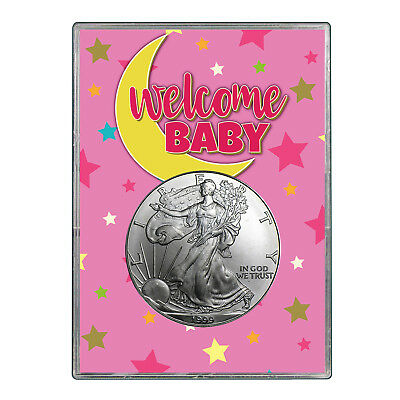 1999 $1 American Silver Eagle Gift Holder - Welcome Baby Pink Design