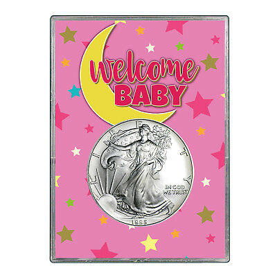 1995 $1 American Silver Eagle Gift Holder - Welcome Baby Pink Design
