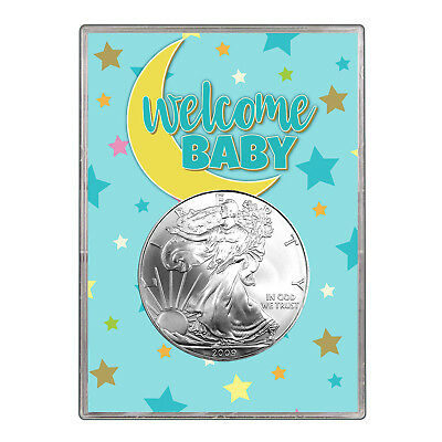 2009 $1 American Silver Eagle Gift Holder - Welcome Baby Blue Design