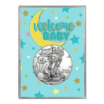 2018 $1 American Silver Eagle Gift Holder - Welcome Baby Blue Design
