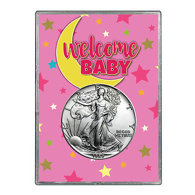 1989 $1 American Silver Eagle Gift Holder - Welcome Baby Pink Design