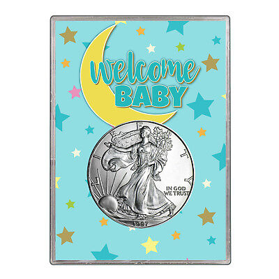 1997 $1 American Silver Eagle Gift Holder - Welcome Baby Blue Design