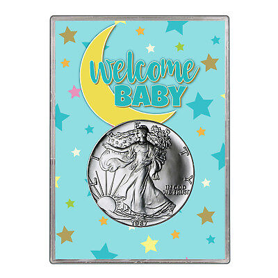 1987 $1 American Silver Eagle Gift Holder - Welcome Baby Blue Design