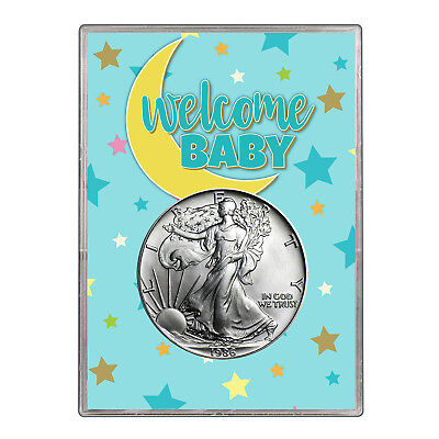 1986 $1 American Silver Eagle Gift Holder - Welcome Baby Blue Design