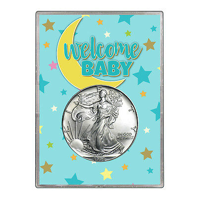 1994 $1 American Silver Eagle Gift Holder - Welcome Baby Blue Design