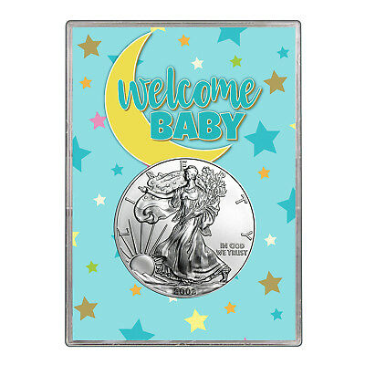 2002 $1 American Silver Eagle Gift Holder - Welcome Baby Blue Design
