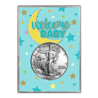 1990 $1 American Silver Eagle Gift Holder - Welcome Baby Blue Design