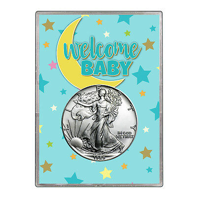 1989 $1 American Silver Eagle Gift Holder - Welcome Baby Blue Design