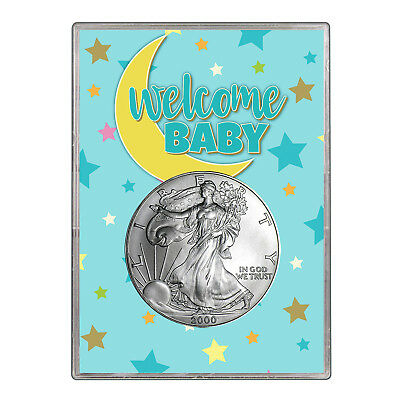 2000 $1 American Silver Eagle Gift Holder - Welcome Baby Blue Design