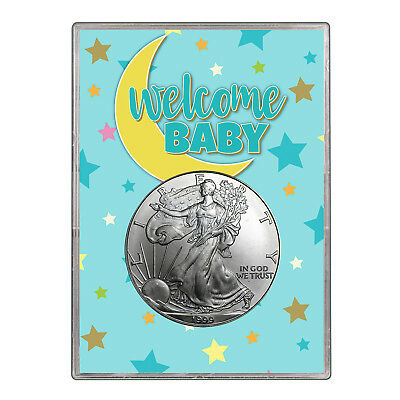 1999 $1 American Silver Eagle Gift Holder - Welcome Baby Blue Design