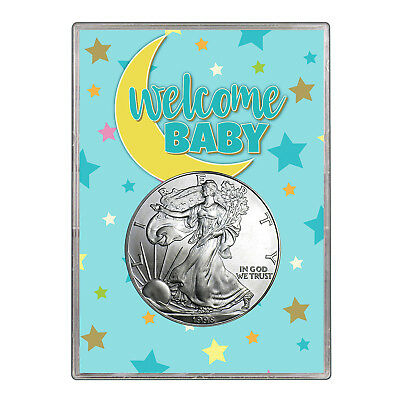 1998 $1 American Silver Eagle Gift Holder - Welcome Baby Blue Design