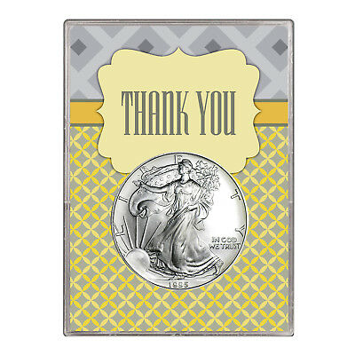 1995 $1 American Silver Eagle Gift Holder – Thank You Design