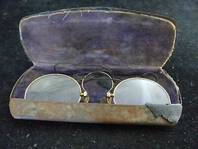 Antique Pair Of Gold Plated Glasses With Case