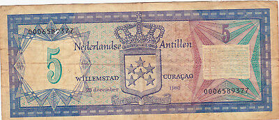 5 Gulden Fine Banknote From Netherlands Antilles/curacao 1980!pick-15