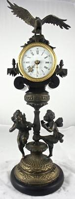 Antique Early 1900's English Figural Black Marble & Bronzed Pillar Mantle Clock