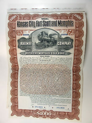 Kansas City, Fort Scott & Memphis Railway Co., 1901 $1,000 Specimen 4% Bond, XF