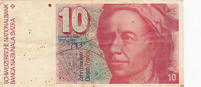 10 Francs Vf Banknote From Switzerland 1992!pick-53