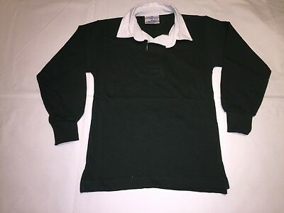 CLEARANCE New Kids Front Row Classic rugby shirt. Bottle Green x 18. R5.