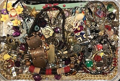 Antique & Vintage Estate Junk Drawer Tribal Ethnic Jewelry Craft Lot