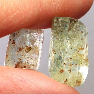 AQUAMARINE-MALAWI 22.31Ct TW 2 PCS-NATURAL TERMINATED / ETCHED FLOATER CRYSTALS